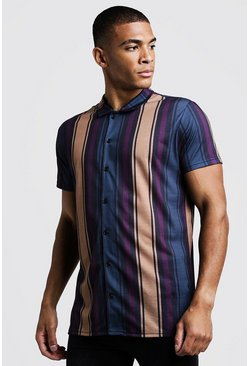 Black Short Sleeve Stripe Shirt