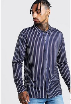 Mens Navy Long Sleeve Stripe Shirt