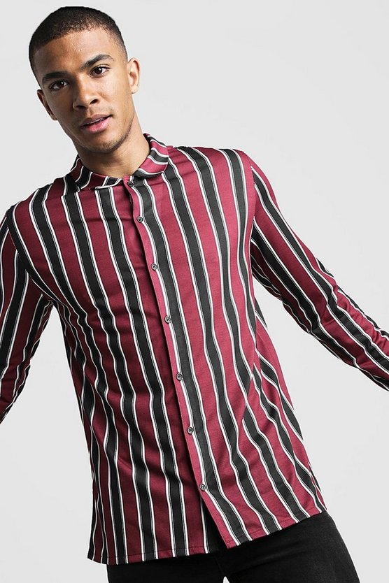 Mens Burgundy Long Sleeve Stripe Shirt