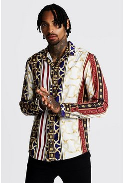 Mens White Satin Chain Print Long Sleeve Shirt