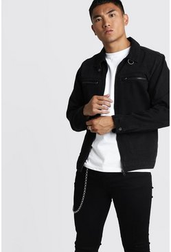 Mens Washed black Denim Jacket With Biker Details