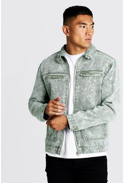 Mens Washed khaki Washed Denim Utility Jacket