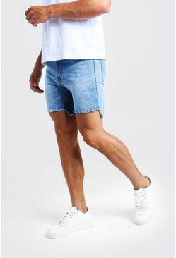 Herr Blue Skinny Fit Denim Shorts With Raw Stepped Hem