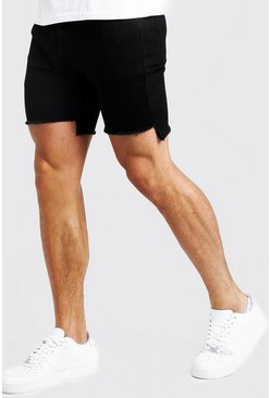 Mens Black Skinny Fit Shorts With Raw Stepped Hem