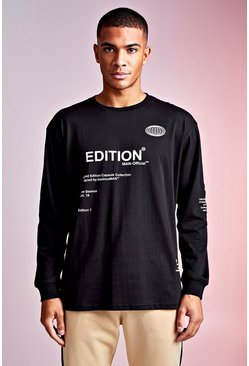 Mens Black MAN Design Long Cuffed Sleeve Screen Print Tee