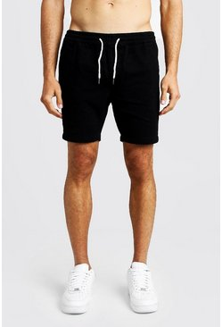 Black Slim Fit Denim Rugby Shorts