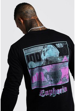 Black Long Sleeve Front & Back T-Shirt