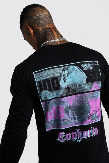 Mens Black Long Sleeve Front & Back T-Shirt