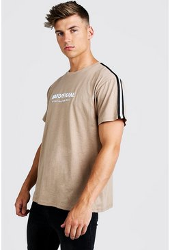 Mens Taupe MAN Official 3D Embroidered Loose Fit Tape T-Shirt