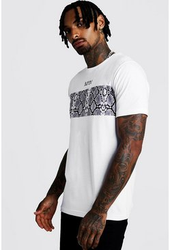 Mens White Original MAN Snake Print Colour Block T-Shirt