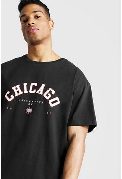 "Black ""Chicago"" T-shirt med ledig passform"