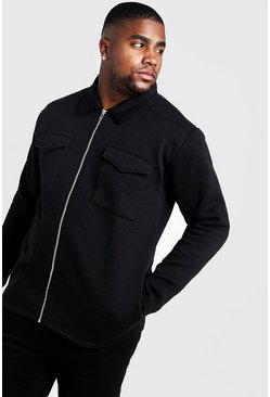Black Big and Tall Basic Jersey Utility Shacket