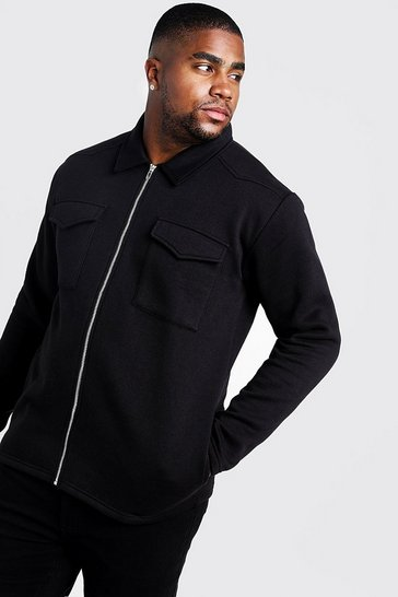 Mens Black Big and Tall Basic Jersey Utility Shacket