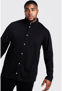 Black Big and Tall Basic Long Sleeve Jersey Shirt