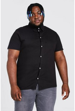 Camicia in jersey a maniche corte Big & Tall, Nero
