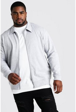 Mens Grey marl Big and Tall Basic Jersey Harrington