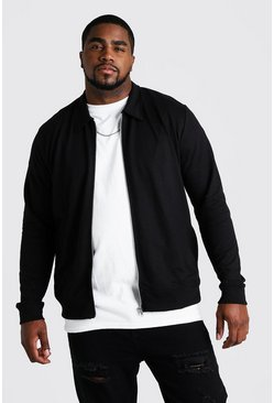 Big & Tall Harrington en jersey basique, Noir
