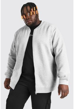Mens Grey marl Big and Tall Basic Jersey Bomber