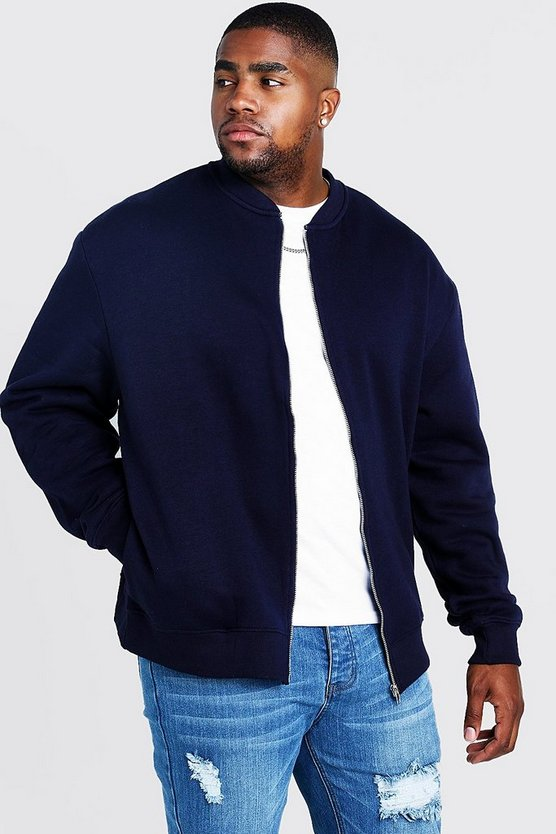 Navy Big and Tall Basic Jersey Bomber
