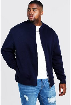 Mens Navy Big and Tall Basic Jersey Bomber