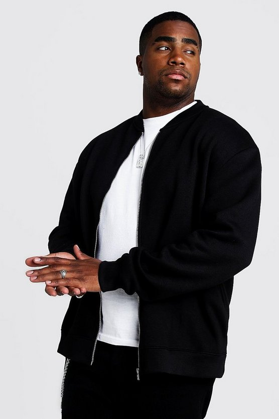 Big And Tall Basic Jersey Bomber by Boohoo