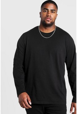 Mens Black Big and Tall Basic Long Sleeve T-Shirt