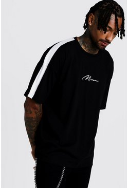 Herr Black Raglan MAN Signature Tee With Back Drip Print