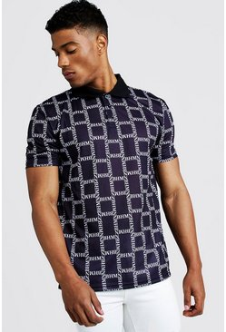Mens Black All Over MAN Print Polo
