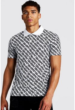 Mens White All Over MAN Print Polo