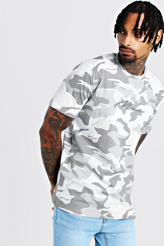 Mens Grey MAN Signature 3D Embroidered Camo T-Shirt