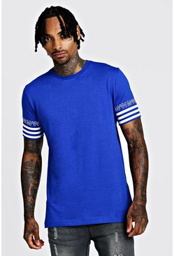 Herr Cobalt MAN Sleeve Stripe T-Shirt
