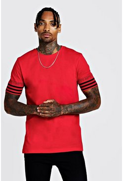 Herr Red MAN Sleeve Stripe T-Shirt