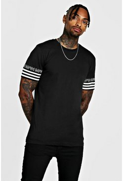 Herr Black MAN Sleeve Stripe T-Shirt