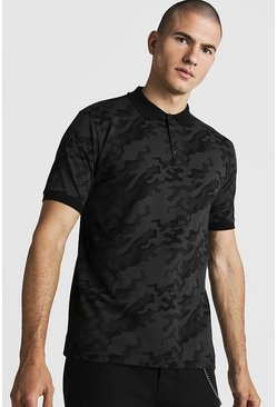 Mens Black Camo Print Polo