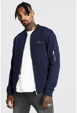 Mens Navy MAN Jersey MA1 Bomber Jacket