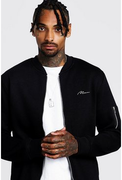 Mens Black MAN Jersey MA1 Bomber Jacket