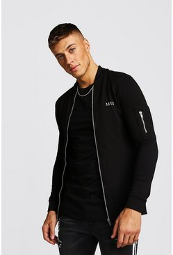 Mens Black MAN Muscle Fit Jersey MA1 Bomber Jacket