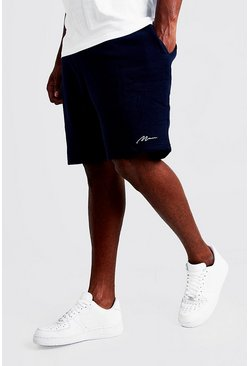Mens Navy Big and Tall MAN Script Skinny Fit Short