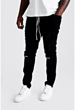Mens Black Big & Tall Skinny Fit Ripped Knee Jean