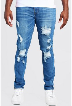 Mens Mid blue Big & Tall Skinny Fit Jeans With Busted Knee