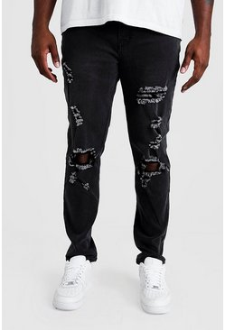 Mens Washed black Big & Tall Skinny Fit Jeans With Busted Knee