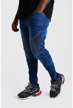 Big & Tall - Jean motard coupe skinny, Bleu
