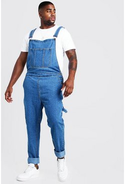 Mid blue Big & Tall Slim Fit Rigid Denim Overalls