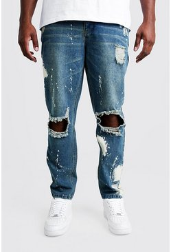 Vintage wash Big & Tall - Blekta jeans i slim fit med slitna detaljer