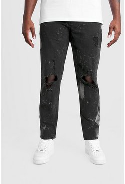 Mens Washed black Big & Tall Slim Bleached Distressed Jeans
