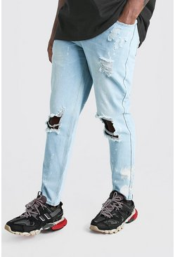 Mens Light blue Big & Tall Slim Bleached Distressed Jeans