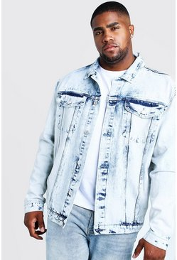 Mens Blue Big & Tall Denim Jacket In Acid Wash