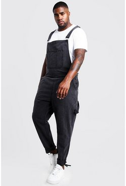 Mens Charcoal Big & Tall Slim Fit Rigid Denim Dungarees