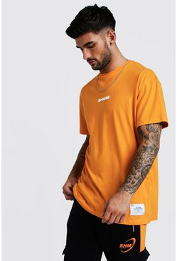 Mens Orange Loose Fit T-Shirt With BHM19 Tag