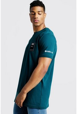 Mens Teal Longline T-Shirt With BHM19 Tag